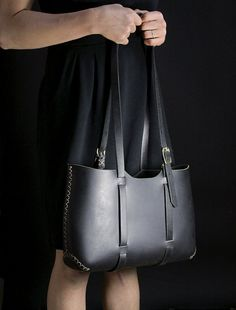 LARGE LEATHER TOTE bag borsa in pelle fatti a mano a mano