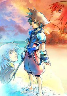 Kingdom Hearts - Riku, Sora, And Kairi Kingdom Hearts Wallpaper, Kingdom Hearts Fanart, Kairi Kingdom Hearts, Cry Anime, Anime Manga, Sora And Kairi, Sora Kh, Kindom Hearts, Studios