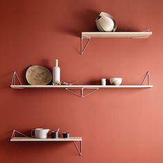 Pythagoras Shelf Oak In 2019 Art Display Shelves Shelf Metal Shelves, Shelf Brackets, Wall Shelves, Floating Shelves, Shelf Furniture, Home Decor Furniture, Skateboard Shelves, Regal Display, Purple Interior