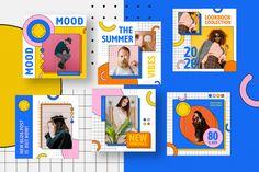 Neo Memphis Insta Pack on Behance Graphic Design Brochure, Branding Design, Page Design, Layout Design, Instagram Story Ideas, Instagram Posts, Memphis Design, Poster Layout, Instagram Design