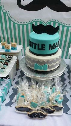 Boy Baby Shower, blue, gray, white, and black, cake, cookies, and treats, mustache