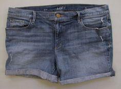 "Ann Taylor LOFT Relaxed Denim Shorts 32 14 Alexa 4"" Light Distressed Jean Cuffed #AnnTaylorLOFT #Denim"