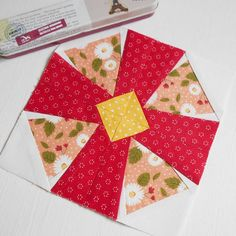 Block 73 - Blossom.  This is a paper-pieced block from Linda Causee's 101 Foundation Pieced Quilt Blocks.