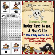 ARGH!! Your kiddos will walk the plank to better number sense! These cards can be used with the activity instructions included in this unit or with Number Cards to 120: Workstation Activity Cards (sold separately).  Themed set includes: --> Number cards from 1 to 120 --> Ten-frame cards showing numbers from 1 to 20 --> MORE or LESS cards (10 more, 10 less, 1 more, 1 less) --> Themed 120 Chart --> Instructions with CCSS alignment for 19 K-2 activities for using the cards $