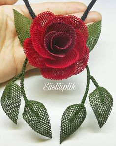 Image may contain: flower - Ideas & Thoughts Beaded Flowers, Diy Flowers, Crochet Flowers, Crochet Mandala Pattern, Crochet Patterns, Embroidery Stitches, Hand Embroidery, Micro Macrame, Easy Crochet