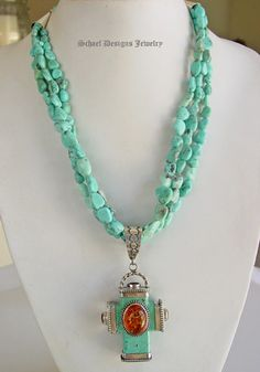 David Troutman Santa Fe Cross of Turquoise & Amber on White Creek Turquoise Necklace | fire hydrant cross pendant $849.00