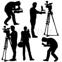 Cameraman with video camera. Silhouettes on white background ...