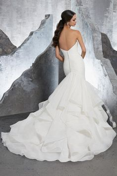 Style AFZI Karina Wedding Dress Form Fitting Sateen Organza Mermaid with Flounced Full Skirt Trimmed in Horsehair. Covered Buttons Along the Back Complete the Look. Available in Three Lengths: Colors Available: White, Ivory, Ivory/Stripe Wedding Gown Sizes, Bridal Wedding Dresses, Wedding Dress Styles, Wedding Veils, Mori Lee Bridal, Gown Photos, Wedding Dress Pictures, Perfect Wedding Dress, Dream Wedding