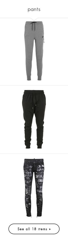 """pants"" by obambulate ❤ liked on Polyvore featuring activewear, activewear pants, pants, bottoms, sweatpants, jeans, sport, grey, workout sweat pants and workout sweatpants"