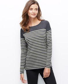 Striped Side Zip Sweater | Ann Taylor