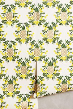 Pineapple Wallpaper: A bright, fun addition to any home. Pineapple design. Pineapple home decor.