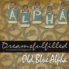 Dreamsfulfilled: Old Blue Alpha. Alfabeto con forma de etiquetas en color celeste.