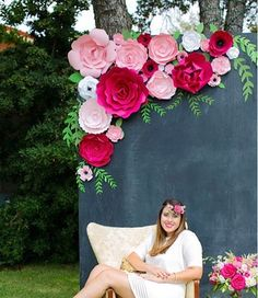 Large paper flower backdrop. Pink paper on a chalkboard backdrop by Paperflora.com