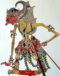 Gathutkaca is the son of Bima and Arimbi and is a great warrior, Wayang Kulit, Leather, Sukoharjo Central Java