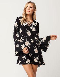 c1f2286355c3 BLU PEPPER Floral Lace Up Dress - BLKCO - 301373149