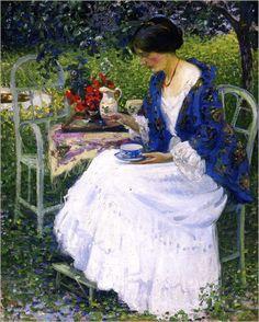 Tea in the Garden - 1910 by Richard Edward Miller