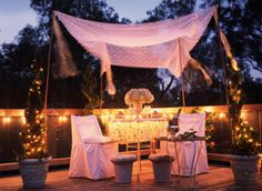 Romantic Garden Party under a sheer canopy and soft lighting!