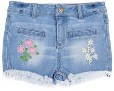 Betsey Johnson Girls Stretch Denim Jean Shorts with Embroidery Little Girls//Big Girls