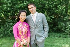 Vietnamese Tea Ceremony Wedding | Bride and Groom | Pink and Gold Custom Made Ao Dai, Grey Suit | Summer Wedding | Lovely Valentine Photography