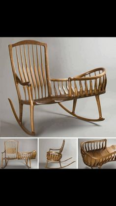 """This a lovely idea.Master craftsman Scott Morrison describes his Rocker Cradle: """"Here I updated a style Windsor Nanny Rocker using Sam Maloof's Classic Rocking Chair design as a basis. Sam Maloof, Unusual Furniture, Cool Furniture, Furniture Design, House Furniture, Baby Furniture, Painted Furniture, Outdoor Furniture, Geek Furniture"""