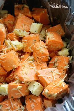 Parmesan Crock Pot Sweet Potatoes ~ Perfect Easy, Quick Weeknight Side Dish or Holiday Side Dish in Your Slow Cooker! Packed Full of Garlic and Parmesan Flavor! ~ http://www.julieseatsandtreats.com