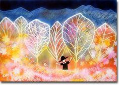 新月紫紺大作の子供部屋に飾る絵 タイトル「ハウエルのぼうし(お花畑)」