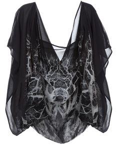 Alexander McQueen - Silk chiffon printed cape