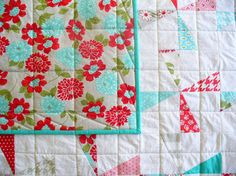 Baby quilt crib quilt or lap quilt in red by SeamlessExpressions, $164.00