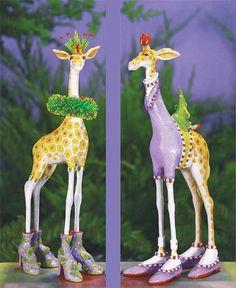 Patience Brewster George & Janet Giraffe Ornaments 08-30908