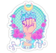Fight like a girl. Woman's hand with crystal quartz brass knuckles. Fist raised up. Girl Power. Feminism concept. Realistic vector illustration in pastel goth colors isolated on white • Also buy this artwork on stickers, apparel, phone cases, and more.