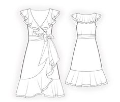 Dress With Flounces  - Sewing Pattern #4488 Made-to-measure sewing pattern from Lekala with free online download. Fitted, Darts, Waist seam, Asymetrical, Zipper closure, Flounce, Belt, Wrap, V neck, Jabot, No sleeves, Gored skirt, No pockets