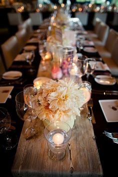 A wooden runner for a Rustic Wedding Centerpiece ... depends on the setting, but I like the simplicity!