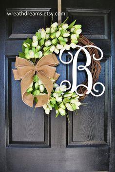 Light Green Mini Tulip Wreath. Grapevine Wreath. by WreathDreams