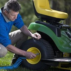 Keep your lawn mower in top shape with your air compressor. Keep tires inflated, or use air tool attachments to sharpen mower blades.