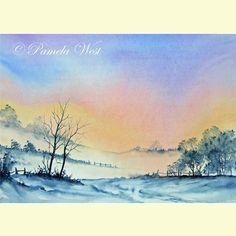 Winter Sunset,  An original watercolour painting by Pamela J West £35.00