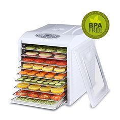 BioChef Arizona Sol Food Dehydrator 9 x BPA FREE Stainless Steel Drying Trays & Digital Timer - Includes: 3 x Non Stick & 3 x Fine Mesh Sheet & Drip Tray. Best Drier for Raw Food, Fruit, Jerky (White) Nutritious Snacks, Healthy Fruits, Healthy Snacks, Bread Alternatives, Snacks Saludables, Digital Timer, Specialty Appliances, Small Appliances, Dehydrator Recipes