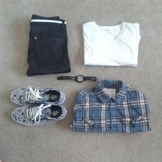 Outfit Grid- Vans, Hollister Flannel, H&M Pants, Stührling Leather Watch by ImmanuelsVision - Snupps
