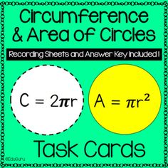 Circles Area and Circumference Task Card Pack Teacher Resources, Activities For Kids, 12th Maths, Cooperative Learning, Recording Sheets, Student Engagement, Task Cards, Mathematics, Lesson Plans