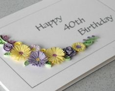 Handmade birthday greeting card paper quilled by PaperDaisyCards