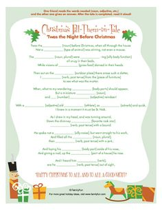 Mad libs fill in quot twas the night before christmas quot