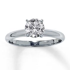 Engagement Rings : Kay Jewelers engagement ring in white gold with round cut I Style: 150866806 I w… Kay Jewelers Engagement Rings, Engagement Rings Round, Perfect Engagement Ring, Pretty Rings, Beautiful Rings, Proposal Ring, Platinum Jewelry, Diamond Solitaire Rings, Wedding Rings