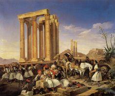 """«Κούλουμα στην Αθήνα». Ελαιογραφία  του Chr.Perlberg, 1838. Εθνικό Ιστορικό Μουσείο , Αθήνα. """"The Koulouma"""" by Chr.G.Perlberg, 1838. National Historical Museum"""