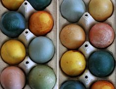 Easter eggs using natural dyes--red cabbage (blue), tumeric (gold), cherries (peach), beets (pink), blueberries and tumeric (green).