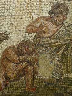 Closeup of Mosaic depicting defeated dwarf boxer with umpire Roman 1st - 2nd century CE