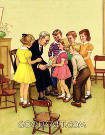 Enfants présentant des photos ministre