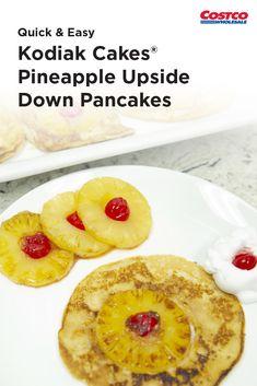 Enjoy a tropical twist on pancakes with this recipe. Healthy Dessert Recipes, Veggie Recipes, Brunch Recipes, Breakfast Recipes, Cooking Recipes, Costco Recipes, Desserts, Kodiak Cakes, Quick Easy Meals