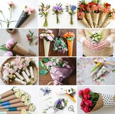 14 Fresh Takes On a Bouquet . | Wrap via Brit + Co. Ways on add interest to a single bouquet of flower. http://www.brit.co/floral-wrap-diys/