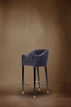 STOLA Bar Chair by @BRABBU | Modern Chairs. Chair Design. Bar Chairs. Bar Design. #modernchairs #velvetchair #barchair Discover more: https://www.brabbu.com/en/upholstery/stola-bar-chair/