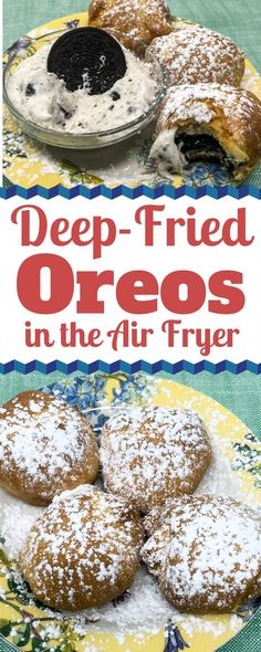 Deep-Fried Oreos are a delicious dessert to make in the Air Fryer. Serve with Oreo Dip or on its own. Oreo Cookies are wrapped in crescent rolls then Air-Fried to perfection. # Deep-Fried Oreos in the Air Fryer Air Fryer Recipes Potatoes, Air Fryer Oven Recipes, Air Fryer Dinner Recipes, Deep Fryer Recipes, Recipes Dinner, Lunch Recipes, Appetizer Recipes, Appetizers, Oreo Dip