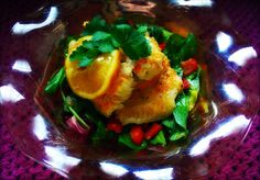 Orange Catfish over baby field greens salad, wilted baby arugula, toasted golden flax seeds. Served in depression glass. Baby Arugula, Catfish, Seafood Recipes, Depression, Seeds, Toast, Salad, Stuffed Peppers, Orange
